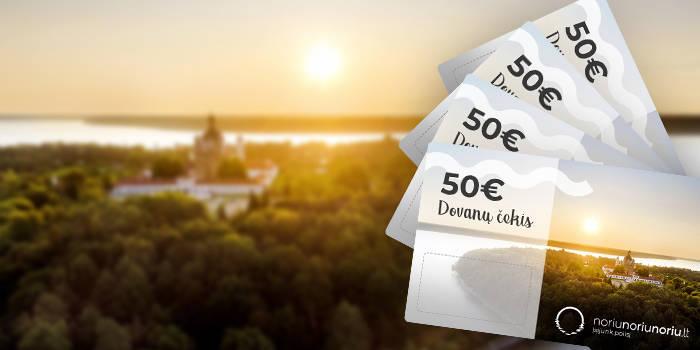 Dovanojame 4 vienetus NoriuNoriuNoriu.lt 50€ dovanų čekių